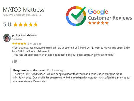 Five star review for MATCO Mattress products!