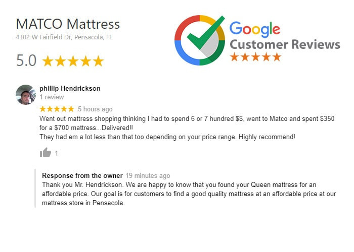 Five star review for MATCO Mattress products in Pensacola, Fl