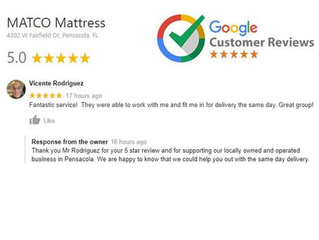 5 star review for MATCO Mattress team!