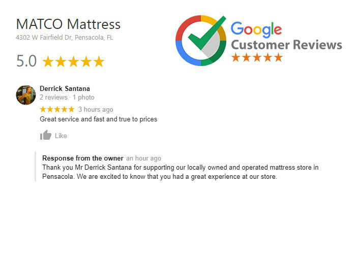 Customer review: 5 Star for MATCO Mattress in Pensacola