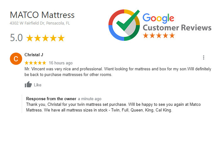 5-stars review to Matco Mattress from Christal J
