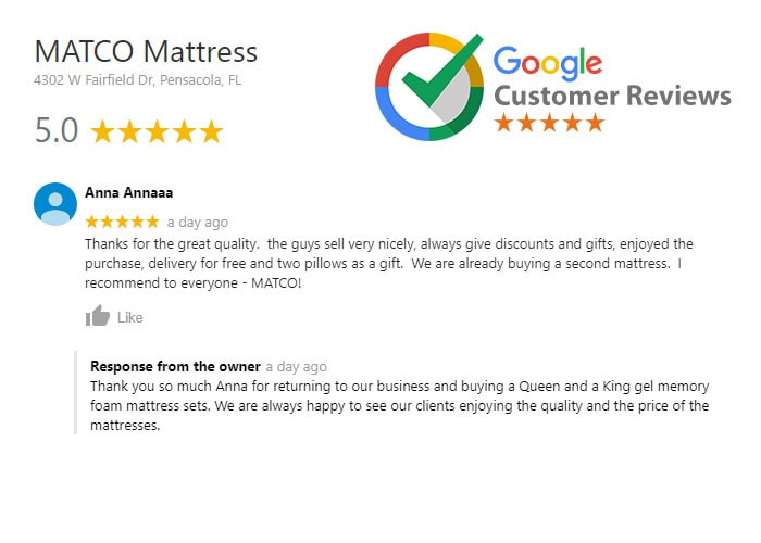 Customer Review  - Matco Mattress Poducts!