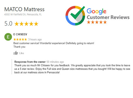 5-star review for MATCO Mattress - Thank you Mr. Chiseev!