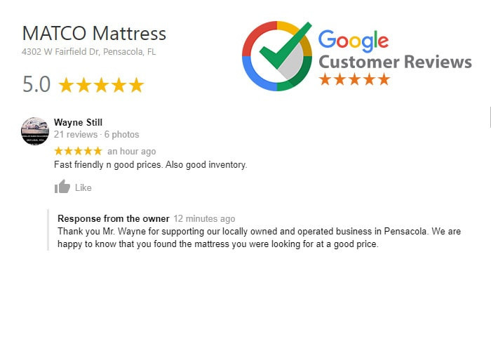 Customer review for MATCO Mattress Pensacola, Florida