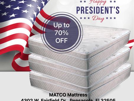 President's Day Sale 2021 at Matco Mattress Pensacola, Fl