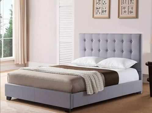 Bed Frame with Headboard (Upholstered) - Gray