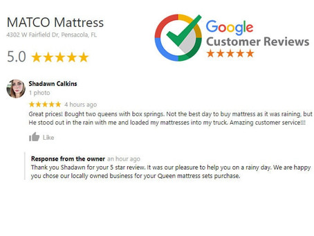 Google Review: Great prices! Bought two queens with box springs.