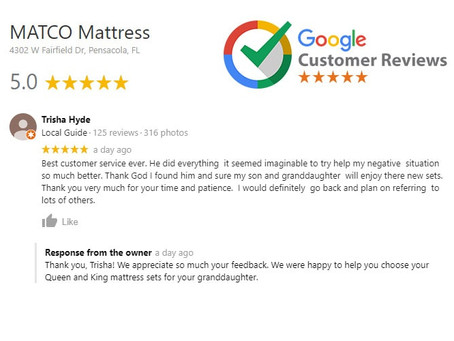 5 star review for MATCO Mattress products - Customer: Fort Walton Beach Florida