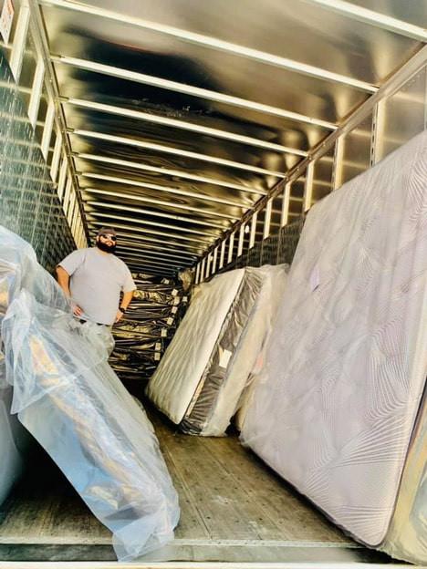 Truck of mattresses at Matco Mattress store in Pensacola