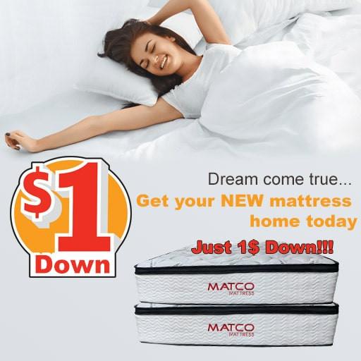 Mattresses for 1$ down in Matco Mattress store - Pensacola, Florida, USA!