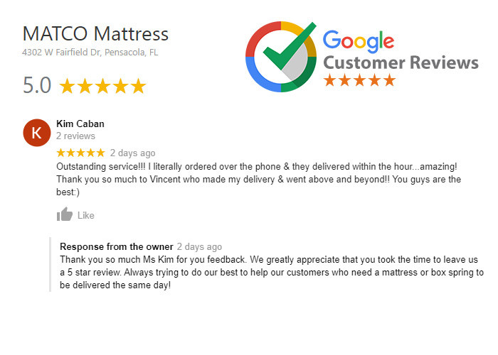 5 star review for MATCO Mattress from Ms Kim from Pensacola, Fl