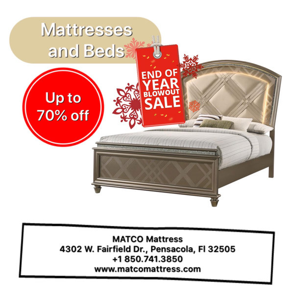 Now it's shopping time - New Year Mattress & Beds Sale in Matco Mattress store in Pensacola, Florida.