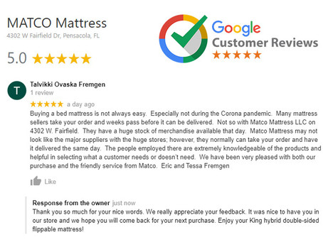 5 star review for MATCO Mattress from Eric and Tessa Fremgen