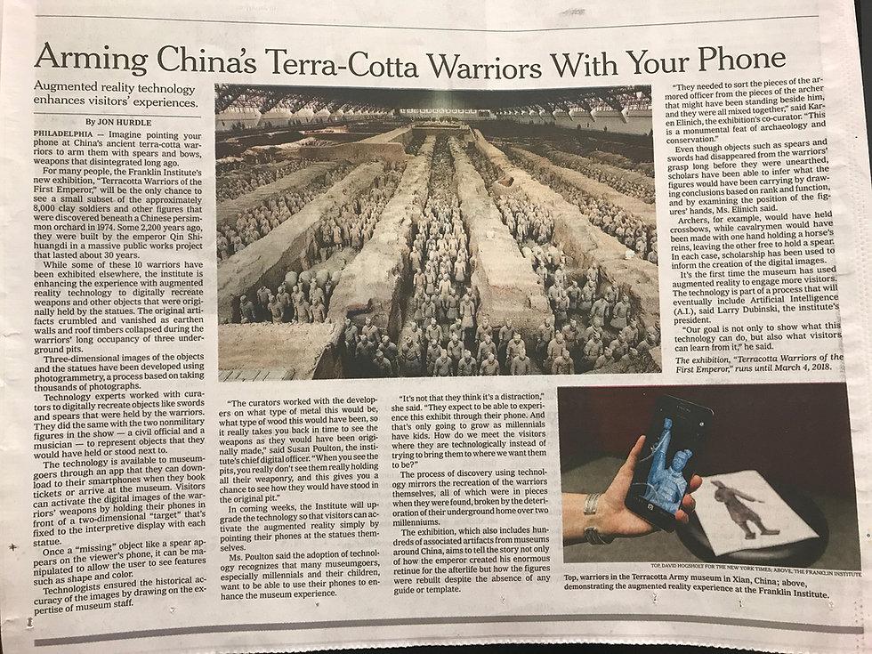 Yetzer Studio - Terracotta Warriors AR - New York Times article
