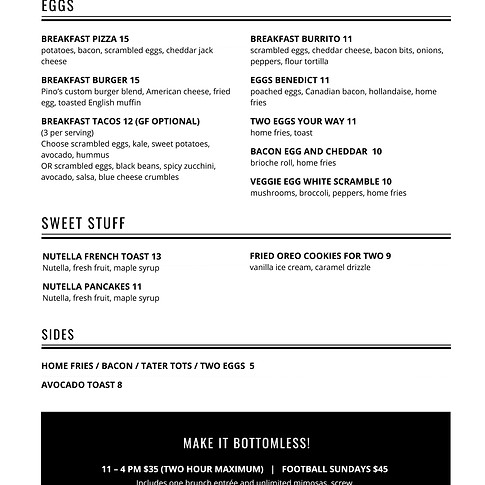 Raise Brunch Menu