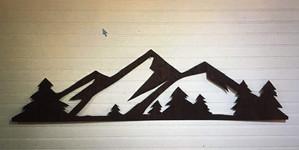 Mountain Range on wood
