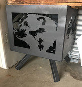 Coated Bear Side Panel for Fire Pit