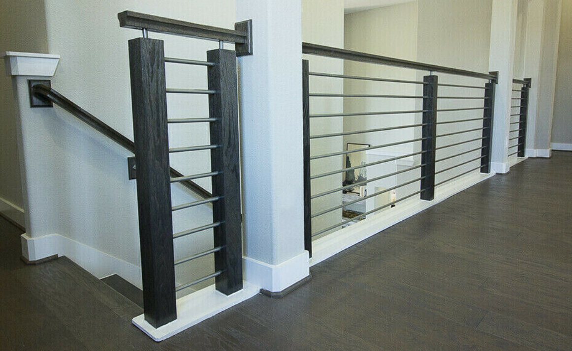 round railing with wood cap-dark