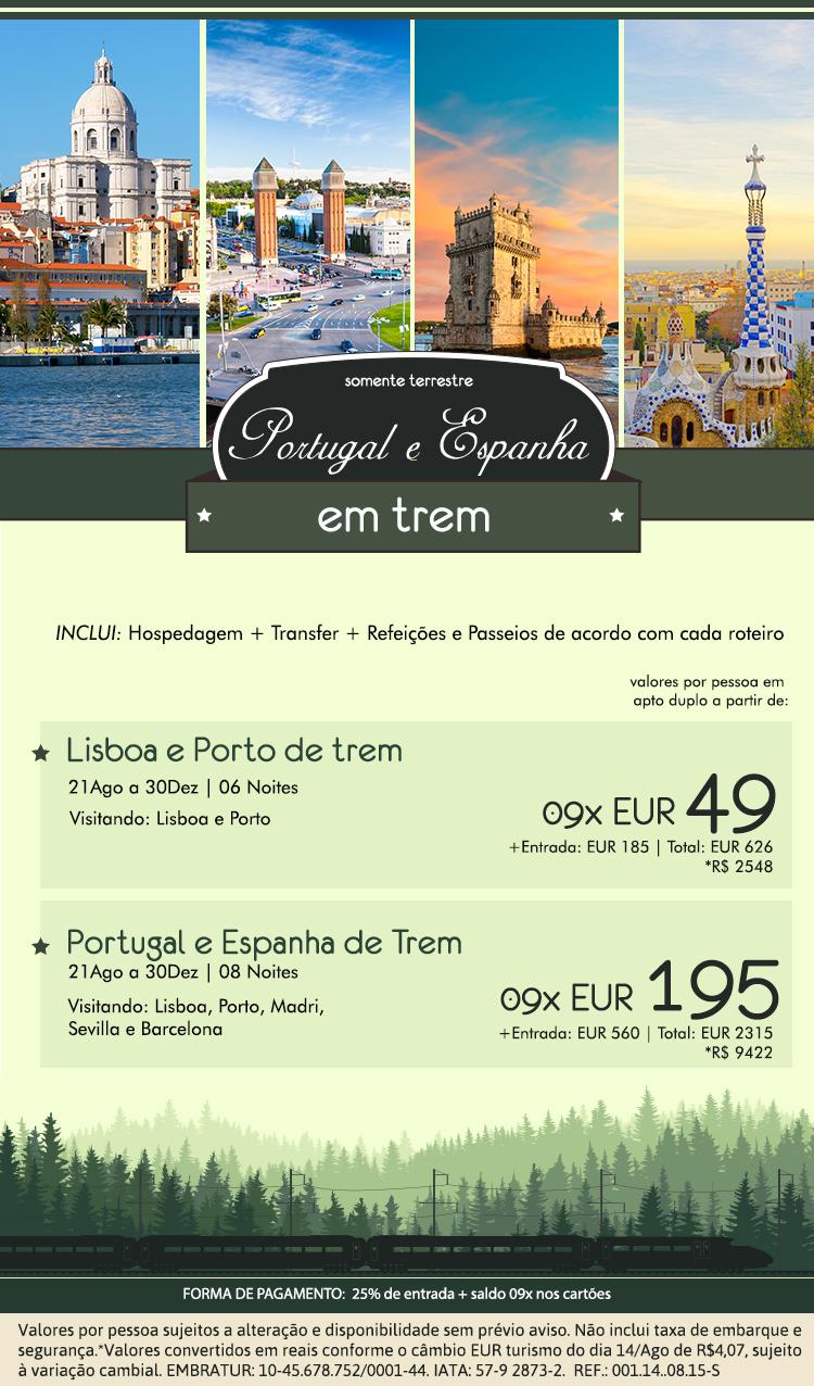 Portugal-e-Espanha de Trem