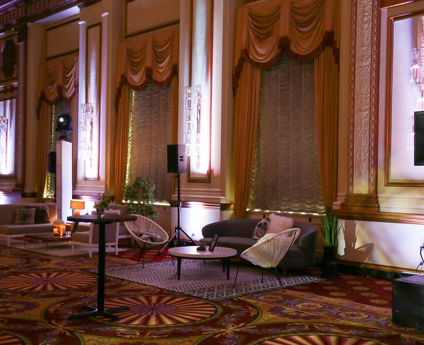 Photo of inside of Pacific Ballroom of Fairmont Hotel Vancouver decorated for evening gala by award winning event photographer Justin Lam Three Sixty Media