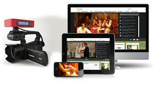 Live broadcast wedding montage with ipads, iphones and computers