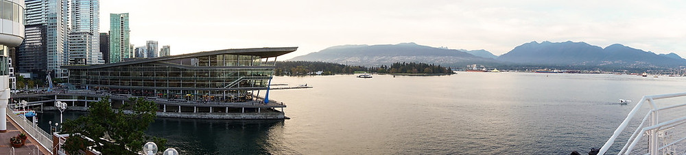 Panoramic photo of Vancouver Convention Centre West and Stanley park by award winning event photographer Justin Lam of Three Sixty Media