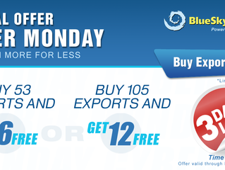 3 DAYS LEFT! CYBER MONDAY SPECIAL OFFER. More Free Exports With Your Next Purchase.