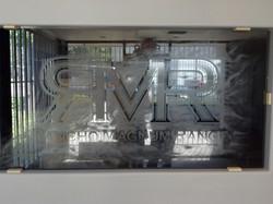 Custom Logo Etched Glass Window