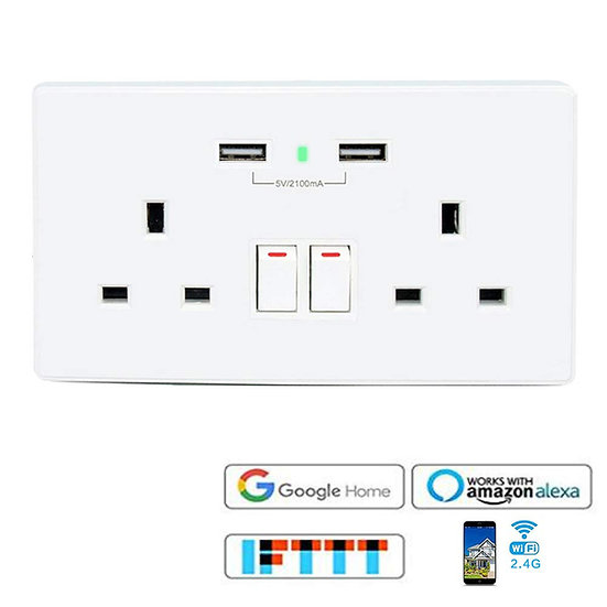 VIGICA 2.1A USB Charger 13A WiFi Wall Socket Smart Switch Outlet Plug