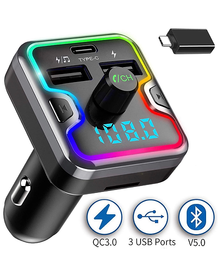 SAIMPU Bluetooth FM Transmitter for Car, USB C PD 3.0 Car Charger