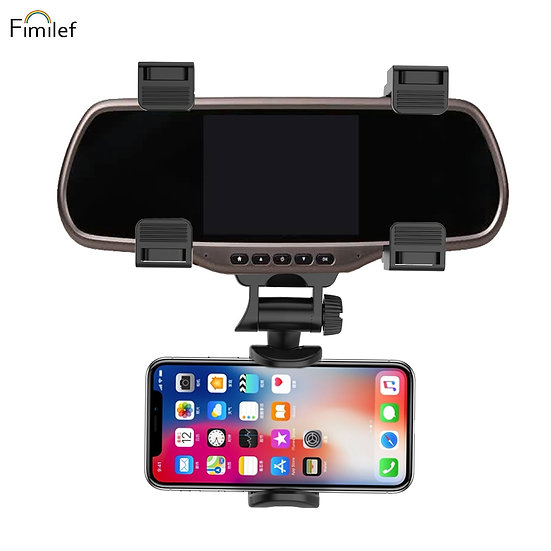 Fimilef Car Rearview Mirror Phone Holder Adjustable Phone Stand Black Smartphone