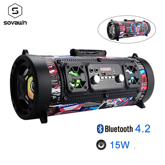 15W Portable Outdoor Bluetooth 4.2 Speaker FM Radio