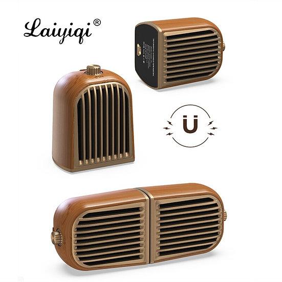 Laiyiqi 1 Pair Retro Solid Wood Design Magnetic Detachable Speaker Bluetooth