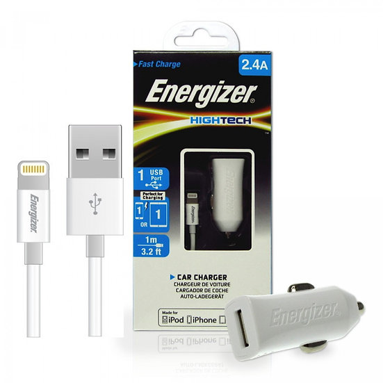 Energizer HighTech Car Charger 2.4A Lightning Cable