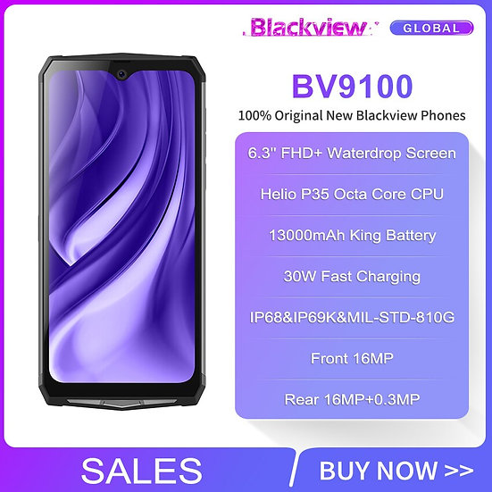 Blackview BV9100 6.3'' FHD+ 13000mAh IP68 Rugged Smartphone