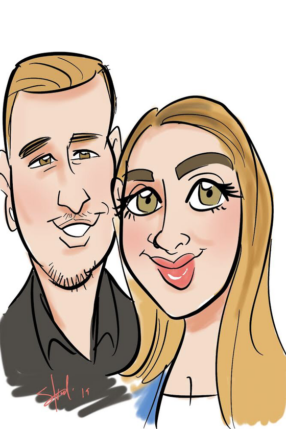 Digital caricatures at Maya day and night club in Scottsdale Arizona for Clara the parisian planner