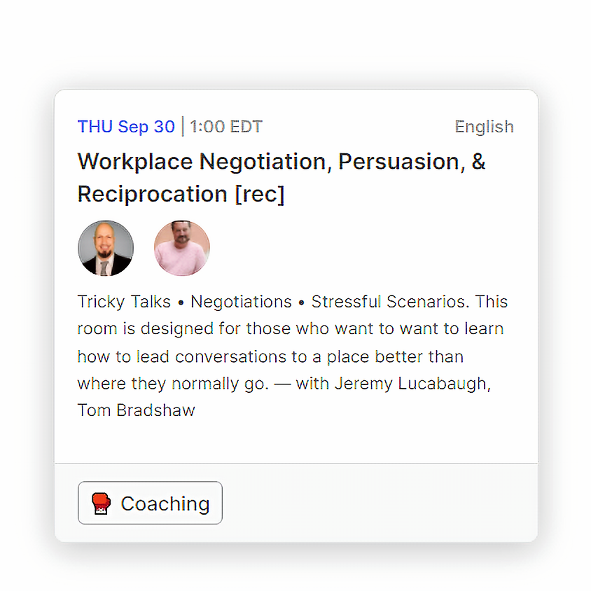 Workplace Negotiation, Persuasion, & Reciprocation