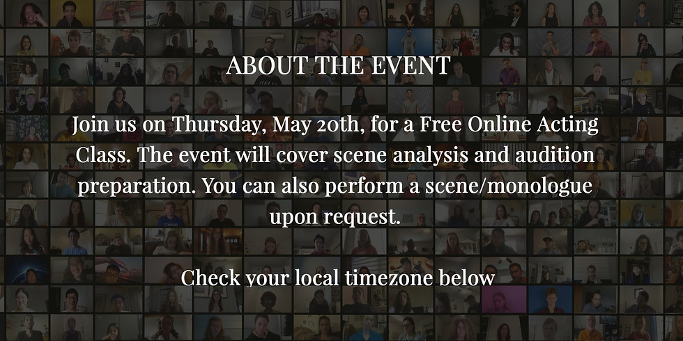 Free Online Acting Workshop - 1 PM (Central Time)