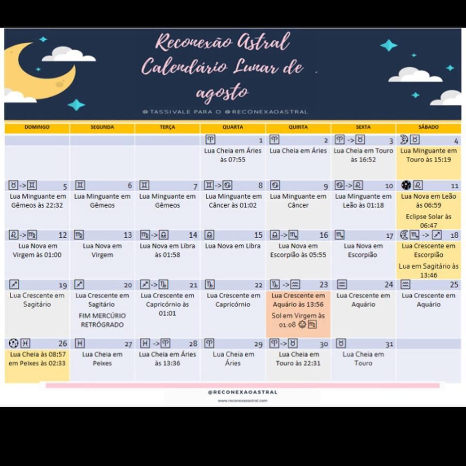 Calendário Lunar agosto @tassivale Tassiana Vale D' Elboux Reconexão Astral Tassi Vale