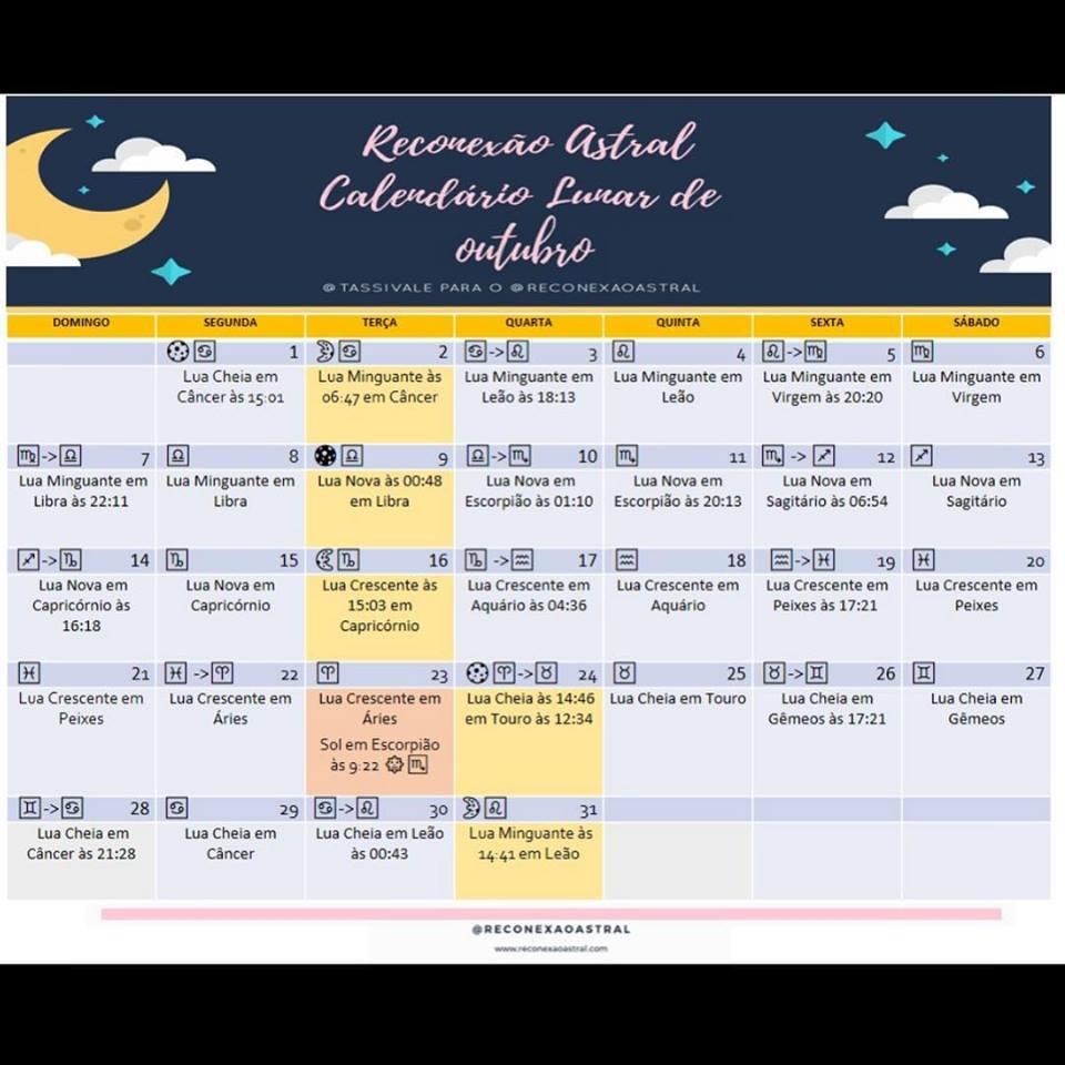 Calendário Lunar Outubro @tassivale Tassiana Vale D' Elboux Reconexão Astral Tassi Vale