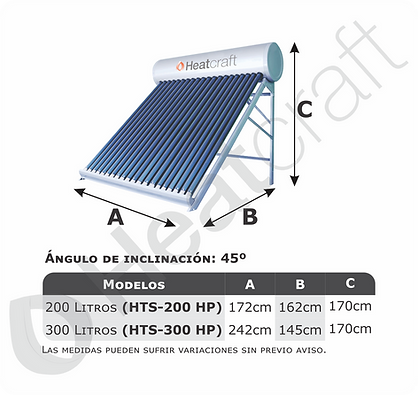 Modelos disponibles termo solar presuriz