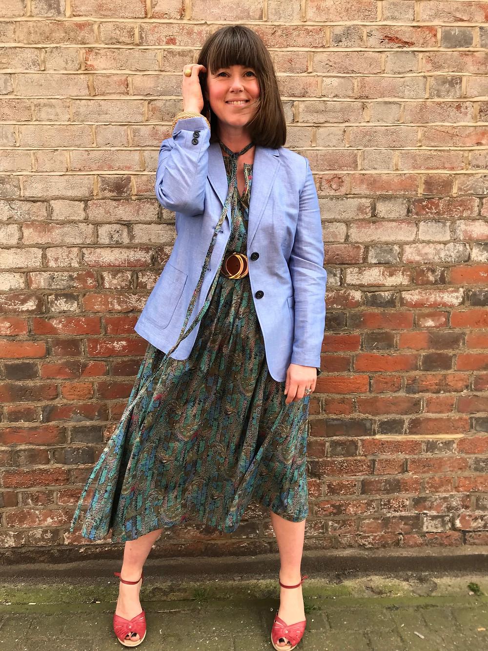 Linen blazer and silk dress