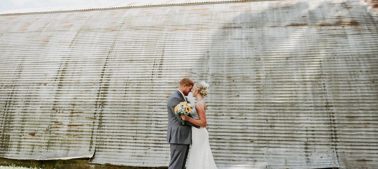 Industrial wedding bride and groom