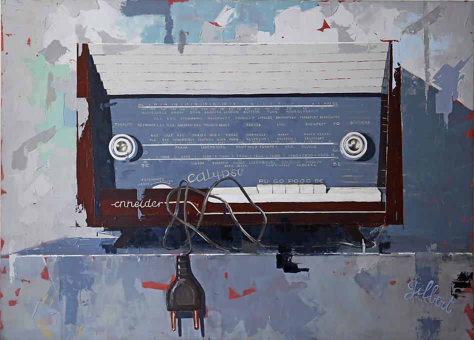 Peinture à l'huile sur panneau  de François GILBERT radio Calypso de marque Schneider Radio - ou tuner d'après la guerre 1939-45