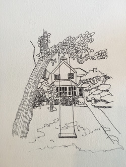 English Cottage Pen and Ink