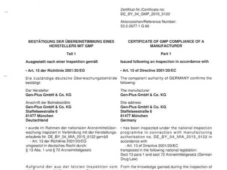 """""""The competent authority which is the """"Regierung von Oberbayern"""" performed a GMP-inspectio"""