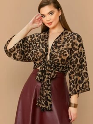 Plus Tie Leopard Print Top