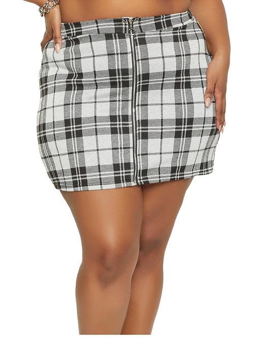 Plus Size Plaid Zip Front Mini Pencil Skirt