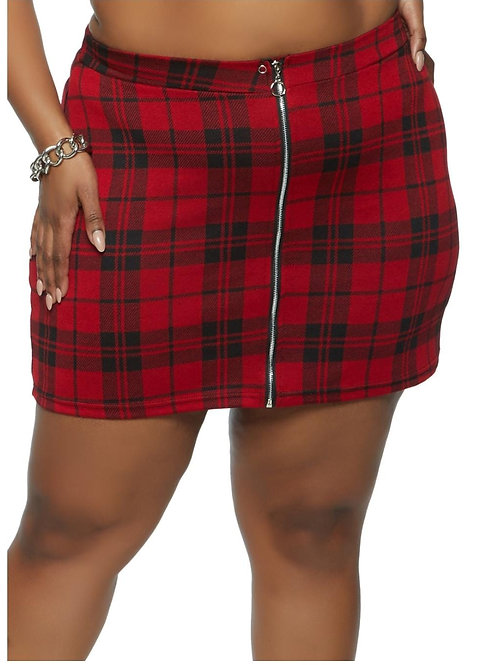 Red Plaid Zip Front Mini Pencil Skirt