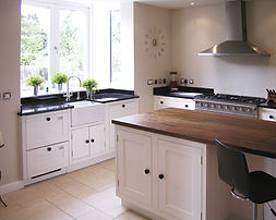 A painted framed kitchen.
